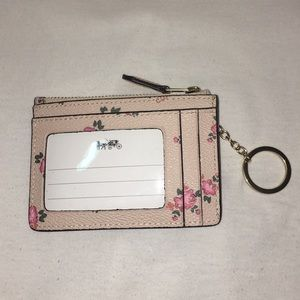 NWT Coach Floral Mini Skinny ID Case with Keyring
